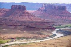 El río Colorado según lo visto del valle del profesor pasa por alto Utah Foto de archivo libre de regalías