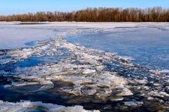 El río congelado de Dnieper Imágenes de archivo libres de regalías