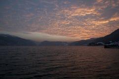 El río Danubio en puesta del sol Fotografía de archivo libre de regalías
