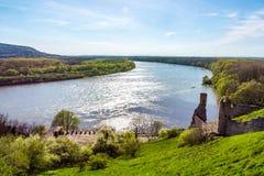 El río de Danubio y de Morava junto cerca del castillo de Devin, Eslovaquia Tiempo del verano, cielo azul imagen de archivo libre de regalías