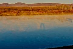 El río de Ergun en la última mañana del otoño Imagen de archivo