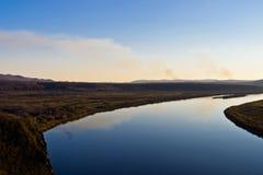 El río de Ergun en la puesta del sol Imagenes de archivo