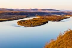 El río de Ergun en la puesta del sol Foto de archivo libre de regalías