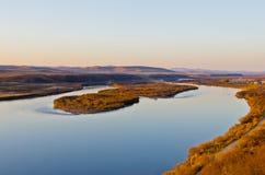 El río de Ergun en la puesta del sol Imágenes de archivo libres de regalías
