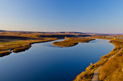 El río de Ergun en la puesta del sol Imagen de archivo