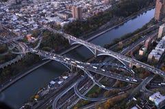 El río de Hudson puentea la antena fotos de archivo libres de regalías