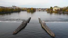 El río de Moldava en Praga en otoño metrajes