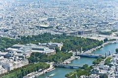 El río de Siene en París desde arriba Imágenes de archivo libres de regalías