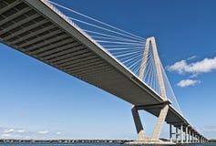 El río del fabricante de vinos de Carolina del Sur cable-permanece el puente Imagen de archivo