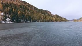 El río es limitado por una capa delgada del hielo en la primavera o el otoño temprana metrajes