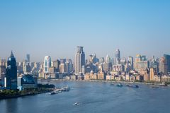 El río Huangpu hermoso por mañana y la Federación Fotografía de archivo libre de regalías