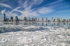 El río Hudson en invierno Imagenes de archivo