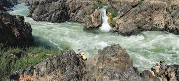 El río Mekong en la isla de Don Khon en Laos Foto de archivo
