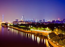 El río Pearl en la noche Fotos de archivo libres de regalías