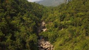 El río rocoso en bosque tropical y la montaña ajardinan la visión aérea El abejón tiró el río de la montaña con las piedras grand almacen de video