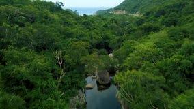 El río rocoso en bosque verde y la carretera con curvas en antena de la montaña ajardinan Visión desde arriba del abejón del vuel metrajes
