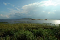 El río Volga por Kazán, Rusia Imagen de archivo