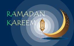 El Ramadán santo, en un fondo azul marino una luna brillante y una lámpara stock de ilustración