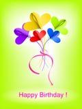 Fondo del feliz cumpleaños con el ramo abstracto de flores Foto de archivo libre de regalías