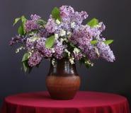 El ramo de lila púrpura y los lirios en una arcilla sacuden Fotos de archivo