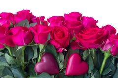 El ramo de rosas rosadas oscuras se cierra para arriba Foto de archivo libre de regalías