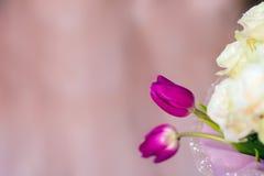 El ramo del ` s de la novia, las rosas blancas, los tulipanes, las flores delicadas, el uso como fondo o la textura, colores en c Imágenes de archivo libres de regalías