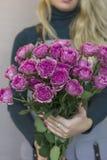 El ramo grande de rosas rosadas en manos femeninas en fondo gris Fotos de archivo libres de regalías