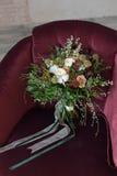 el ramo hermoso de la boda de Burdeos de las flores subió Foto de archivo libre de regalías