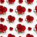 El ranúnculo del rojo rico florece el ramo en el florero blanco como modelo inconsútil Fondo del verano de la elegancia Imagenes de archivo