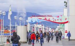 El rastro canadiense en el lugar de Canadá en Vancouver - VANCOUVER/CANADÁ - 12 de abril de 2017 Foto de archivo libre de regalías