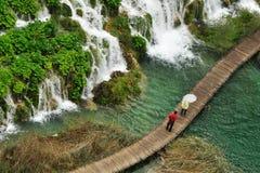 El rastro en las cascadas Foto de archivo libre de regalías