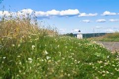 El rastro piedra-pavimentado a través del prado de Bogolubovo hacia la iglesia de la intercesión de la Virgen Santa en el río de  Imágenes de archivo libres de regalías