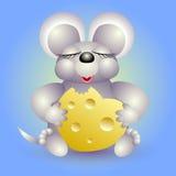 El ratón come el queso en corazón de la forma Imagen de archivo