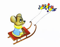 El ratón de los chirridos monta los trineos Fotografía de archivo