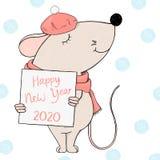 El ratón en una boina lleva a cabo un marco para su texto Tarjeta de felicitaci?n por A?o Nuevo y la Navidad libre illustration