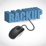 El ratón está conectado con la palabra azul COPIA DE SEGURIDAD Imágenes de archivo libres de regalías