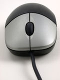 El ratón negro con plata abotona vista delantera Fotografía de archivo