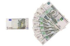 El ratio de la rublo al euro Imagen de archivo