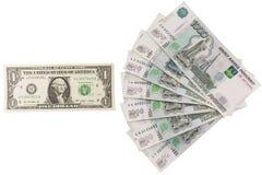 El ratio de la rublo contra el dólar Fotos de archivo
