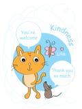 El ratón le agradece tarjeta del gato Imagen de archivo libre de regalías