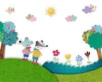 El ratón y el budger se están divirtiendo al aire libre Imagen de archivo