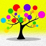 El árbol de los círculos muestra a Ring Environmental And Yellow Foto de archivo libre de regalías