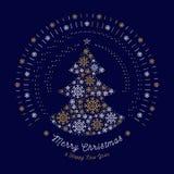 El árbol del extracto de la tarjeta de la Feliz Navidad, mono línea sol estalla, los copos de nieve Fotografía de archivo libre de regalías