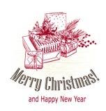 El ?rbol victorian del estilo de la tarjeta de Navidad presenta el grabado del bosquejo dibujado foto de archivo libre de regalías