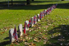 El rebelde señala los sepulcros del honor por medio de una bandera de los soldados desconocidos de la guerra civil Imagen de archivo libre de regalías