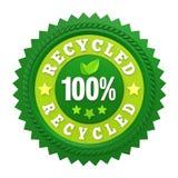El 100% recicló la etiqueta de la insignia aislada Fotografía de archivo