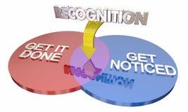 El reconocimiento le consigue Venn Diagram Words notado hecho ilustración del vector