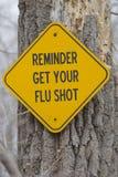 El recordatorio consigue su muestra de la vacuna contra la gripe Fotografía de archivo
