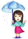 El recorrer en la lluvia ilustración del vector