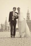 El recorrer joven de los pares de la boda Imagen de archivo libre de regalías